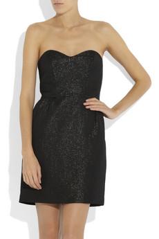 Black Metallic Strapless Mini Dress
